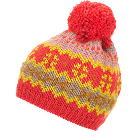 Eisbär Wentje Cappello con pon pon Donna, coralle red/mustard/ochre/beige mottled